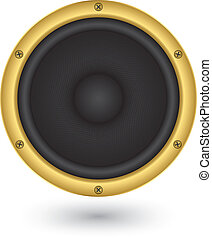 Audio speaker app icon, vector illustration