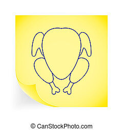 Chiken. Single icon on the yellow note paper. Vector...