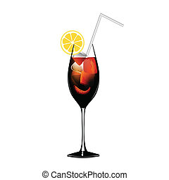 Cuba libra lemon alcohol cocktail graphic vector eps 10