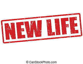 New life stamp - New life grunge rubber stamp on white,...