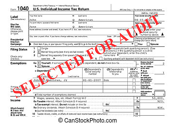 Federal Tax Return Audit - Close-up of a Federal Tax Return...
