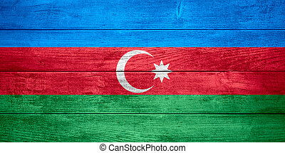 flag of Azerbaijan or Azerbaijani banner on wooden...