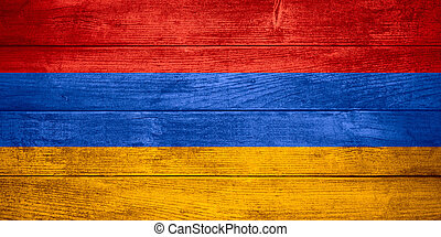 flag of  Armenia or  Armenian banner on wooden background
