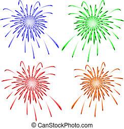 brilhantemente, fogos artifício, vetorial, coloridos