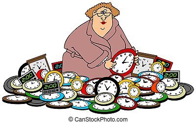 Woman setting clocks - This illustration depicts a woman...