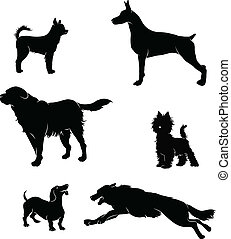 Vectors silhouettes of dogs - black and white vector...