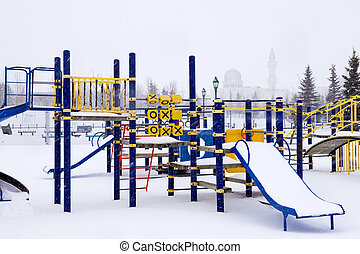 Wintery playground with mosque. - Playground set with mosque...