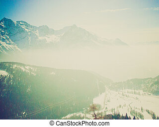 Bernina, Switzerland retro looking - Piz Bernina range of...