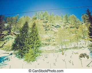 Bernina, Switzerland retro looking - Piz Bernina range of...