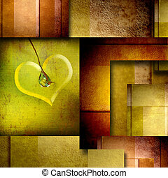 background with heart design element on brown and green -...