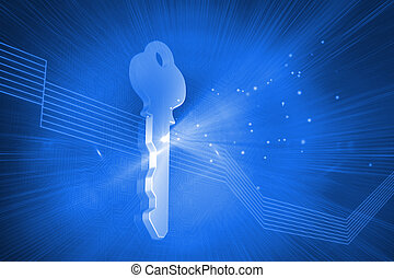 Digitally generated glowing key on blue background