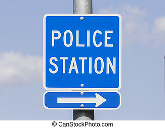 Police Station Sign - Police Station direction sign with...