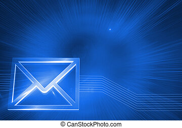 Digitally generated glowing envelope on blue background