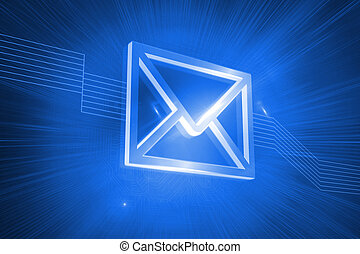 Digitally generated envelope on blue background