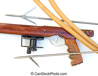 Wooden speargun - Handmade wooden speargun with equipment on...