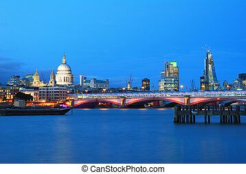 Saint Pauls Cathedral and Blackfriars Bridge with London...