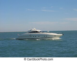 yacht - motor boat close to Chicago on Erie lac