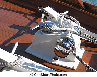 marine - anchor winch on a beautiful old motor yacht