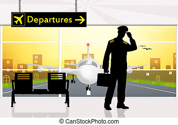 Pilot in airport - illustration of pilot in airport