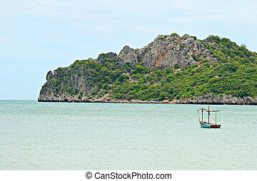 Ao Manao, Thailand - Fishing boat in the turquoise bay of...