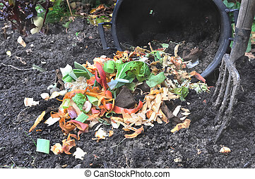 vegetable peelings for compost - bucket spilling various...