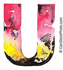 handmade watercolor alphabet design - original handmade...