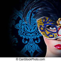 Beautiful girl in carnival mask with red lips - Beautiful...