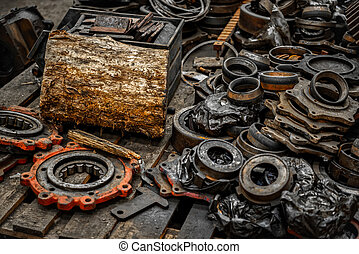 Rusty industrial machine parts in a building closeup photo