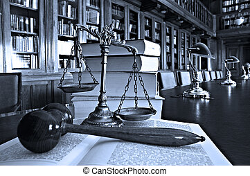 Decorative Scales of Justice in the library - Symbol of law...