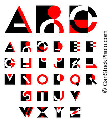 original geometric alphabet - original geometric red and...