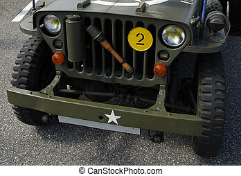 Front of an old Jeep - Front of an old military Jeep