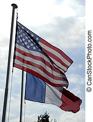 Flags of France and Unites States - American and french...