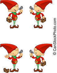 Red Elf - Hammer and Toolbox - A cute cartoon red elf with 4...