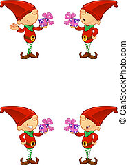 Red Elf - Holding A Present - A cute cartoon red elf with 4...
