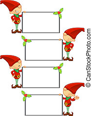 Red Elf - Holding Blank Board - A cute cartoon red elf with...