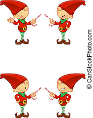 Red Elf - Pointing With Candy - A cute cartoon red elf with...