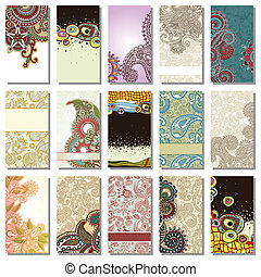business card element - collection of colorful floral...