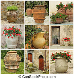 collage with antique style garden vases - collection of...