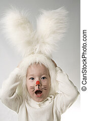 Bunny - little girl in a white downy bunny costume