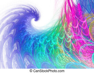 blue, green and magenta fractal swirl on white background