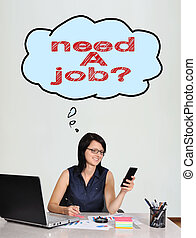 need a job - happy businesswoman sitting in office and need...