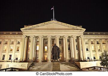 US Treasury Department Albert Gallatin Statue Washington DC...