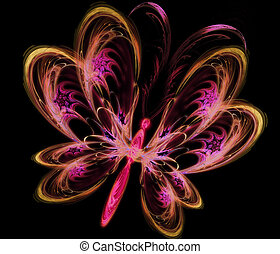 abstract fractal butterfly colorful illustration on black...
