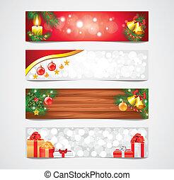 Natale, vacanze, vettore, Bandiere, set