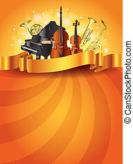Musical instruments golden vector background - Classic...