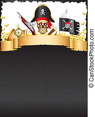 Pirates and treasures vector background - Pirates and...
