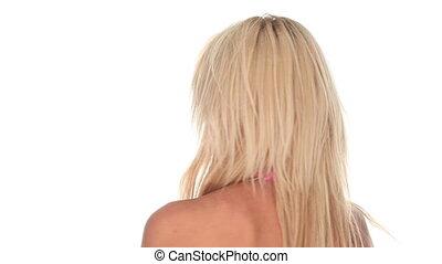 Beautiful blond woman spinning 360 - Beautiful blond woman...