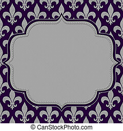 Purple and Gray Fleur De Lis Textured Fabric Background with...