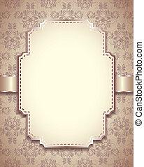 Vintage vector frame, ornamental background