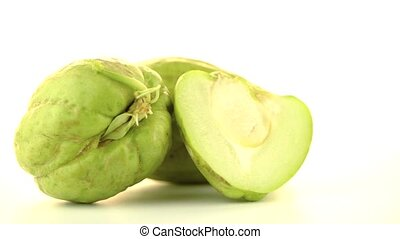 Chayote also known as chow chow and Chu Chu rotating on...